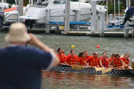 Tourist Enjoys Dragon Boats