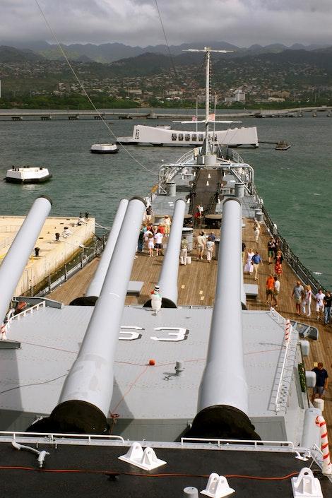 USS Missouri and Battleship Row